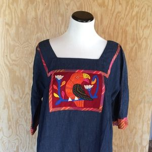 * CROSS ROADS MS VINTAGE  EMBROIDERED DRESS SIZE L